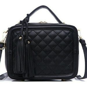 NWT Black Quilted Fatima Satchel Purse New